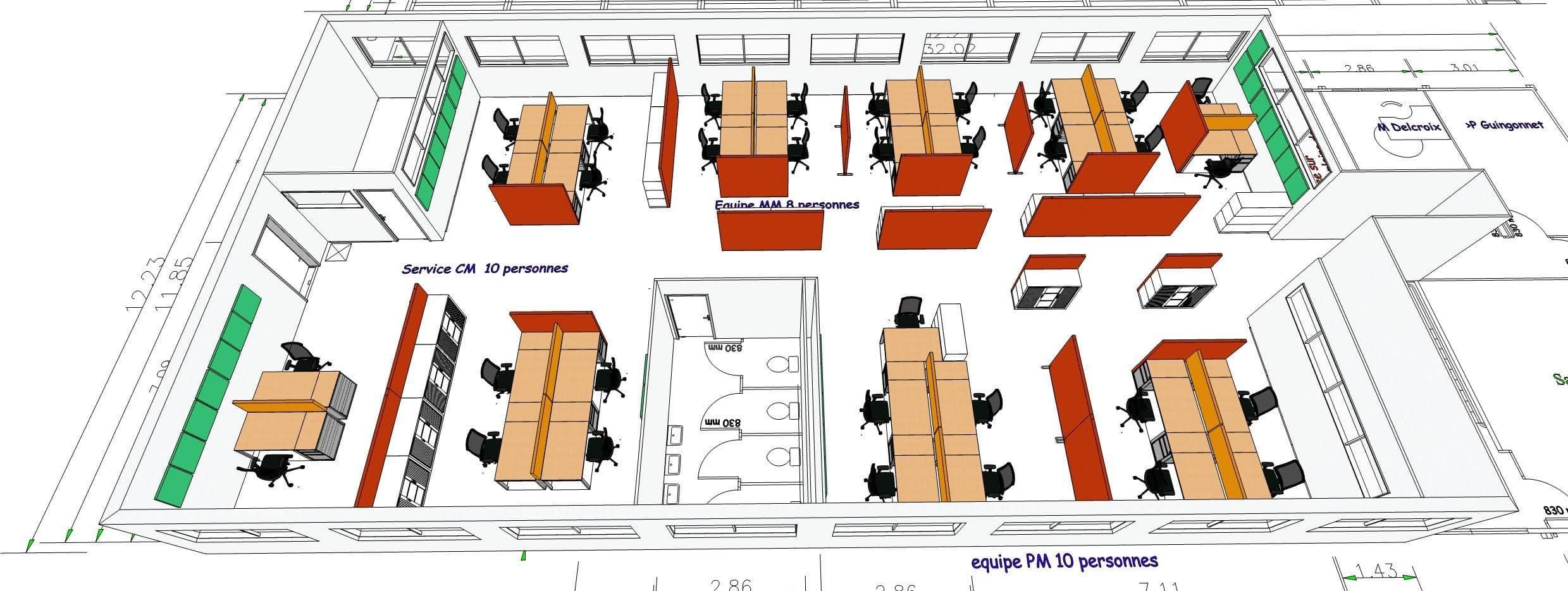 Plan 3D bureau
