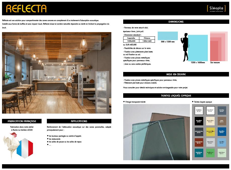 Fiche technique détaillée d'un baffle acoustique transparent de la gamme REFLECTA
