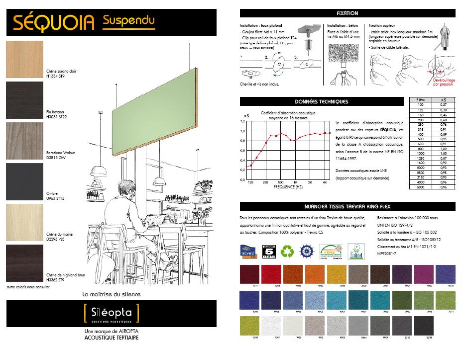 Fiche technique détaillée d'un baffle acoustique de la gamme SÉQUOIA