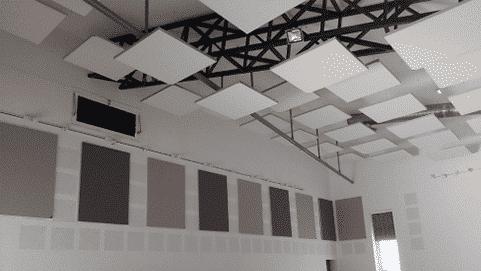 Tableau acoustique + capteurs acoustiques suspendus pour gymnase, gamme CAPTEA
