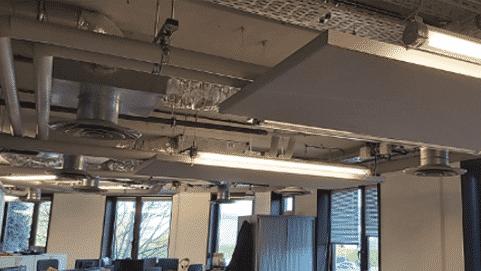 Capteurs acoustiques suspendus pour open space de la gamme CAPTEA